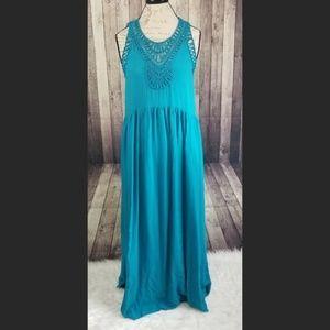 Mermaid Macrame Day maxi dress in teal